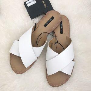 Crisscross Sandal Slides - White