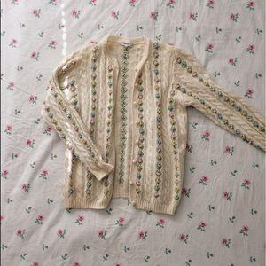Floral vintage embroidered cardigan