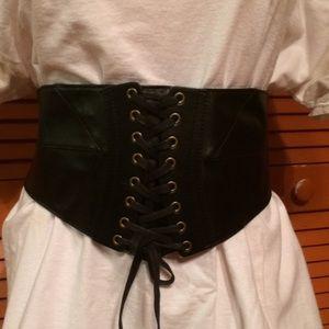 Accessories - Black leather corset belt