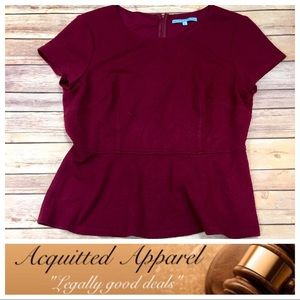 ANTONIO MELANI Tops - [Antonio Melani] Jacquered Peplum Burgundy Top