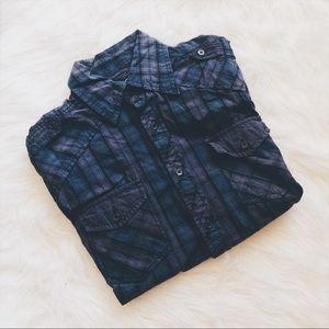 Point Zero Other - - Men's - Dark Gray & Dark Turquoise Button-Down