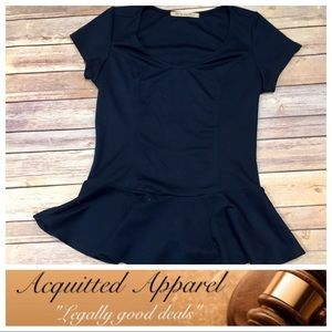 Big Star Tops - [Big Star] Tee Navy Blue Peplum Top
