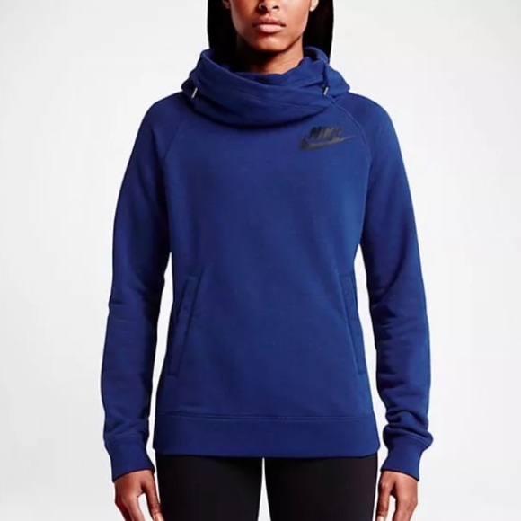 56d13e10dcb8 Nike Rally Funnel Neck Deep Royal Blue Hoodie