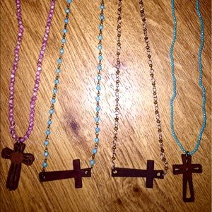 Jewelry - Wooden cross rosary necklaces