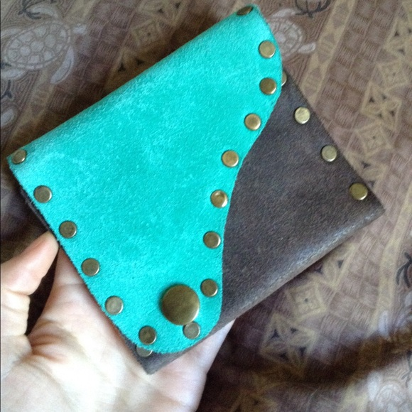 Vintage Handbags - 🌈 Leather Brassy Studded Wallet