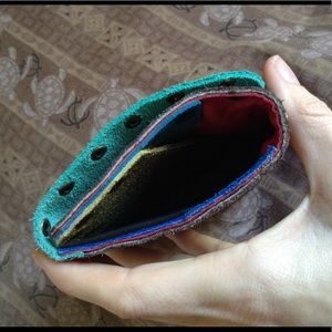 Vintage Bags - 🌈 Leather Brassy Studded Wallet