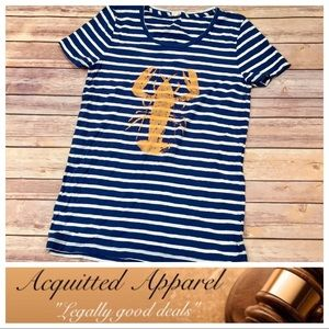 J. Crew Tops - [J. Crew] Stripped Lobster Striped Tee