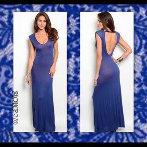 Dresses & Skirts - Blue maxi dress w/ orange lining