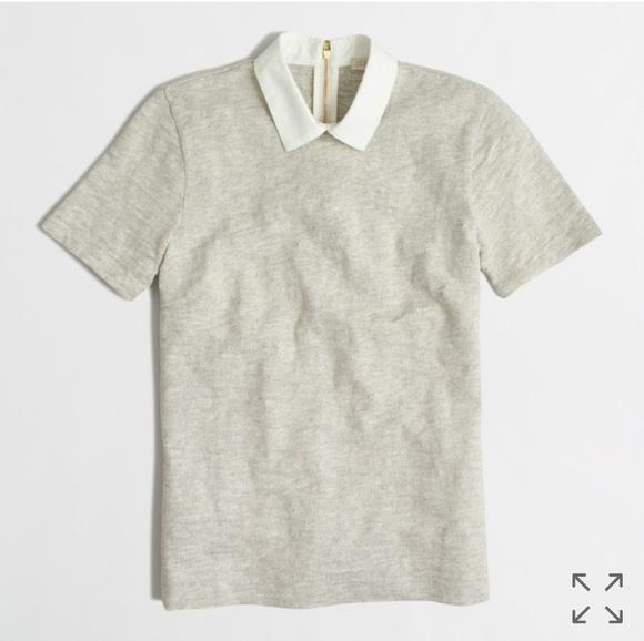 J  Crew Factory Grey Knit Collared Shirt -M