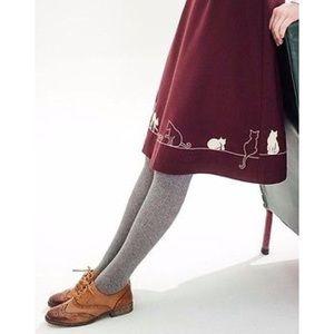 Topshop Dresses & Skirts - Topshop miss patina burgundy feline cat skirt