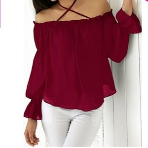 Tops - Wine Red Off the Shoulder Blouse