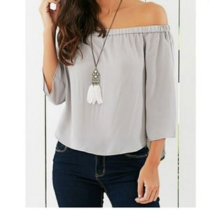 Tops - NOW IN! Gray Off the Shoulder Blouse with Bow