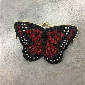 Vintage butterfly Beaded red coin purse clutch