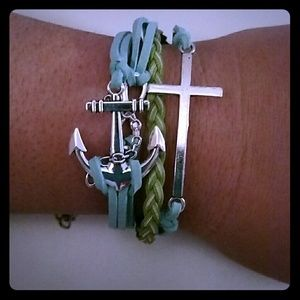 Jewelry - New leather charm bracelet blue green cross anchor