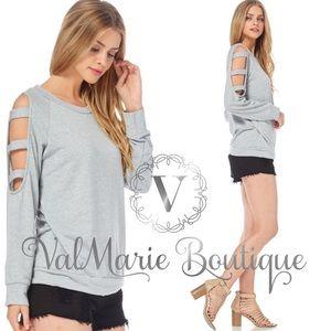 Grey cold shoulder ladder sleeve sweatshirt