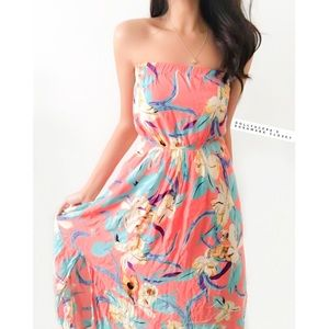 Pretty Tropical Strapless Dress