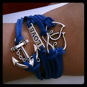 Jewelry - New blue leather charm bracelet love hearts