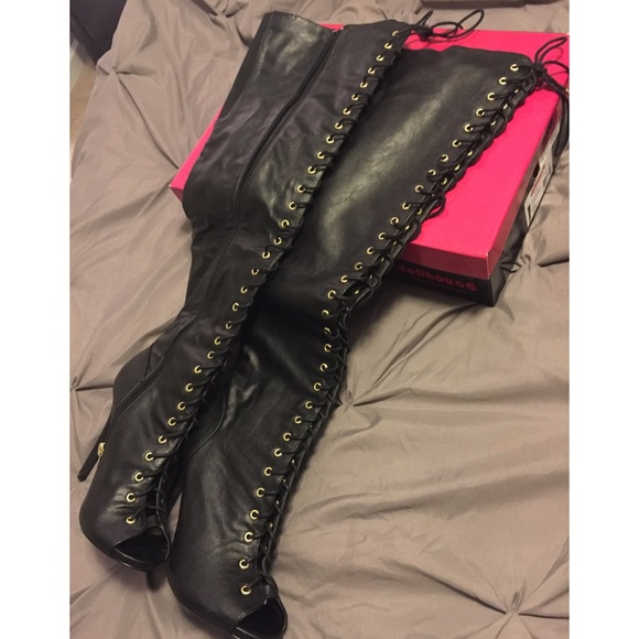 55 shoes dollhouse thigh high string up boots from