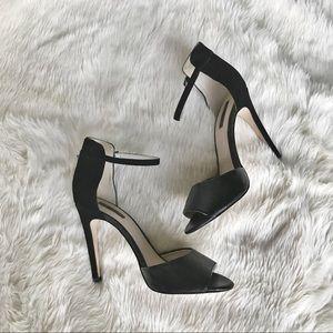 TopShop black velvet ankle strap heels