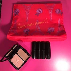 Lancome Other - Lancôme Makeup Bag with 4 New Lipsticks, & Blush