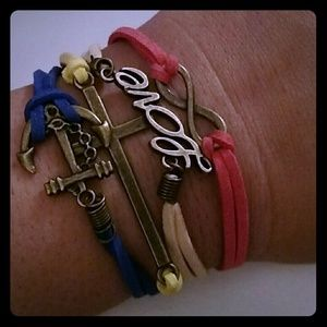 Jewelry - New leather bracelet charm love cross friends