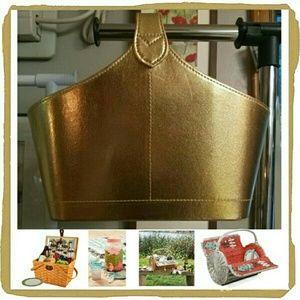 Handbags - Gold Metallic Hard Sided Box Tote