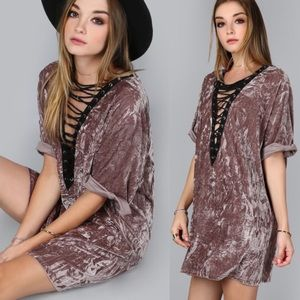 Bare Anthology Dresses & Skirts - Lace Up Velvet Mini Dress / Tunic