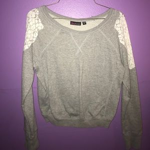 Ultra Flirt Sweaters - Grey sweater with lace shoulder