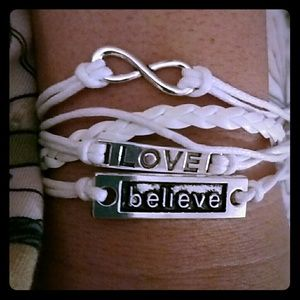 Jewelry - New charm bracelet white believe love boho