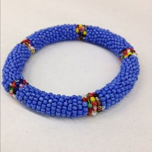 Jewelry - Blue Beaded Bracelet with design detail