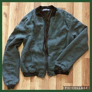 Olivia Moon Jackets & Blazers - Green Cotton Bomber Jacket