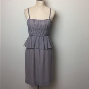 Anthropologie silk ruched and ruffle dress