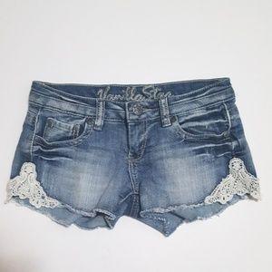 Vanilla Star Pants - Adorable Crochet Denim Cutoff Shorts