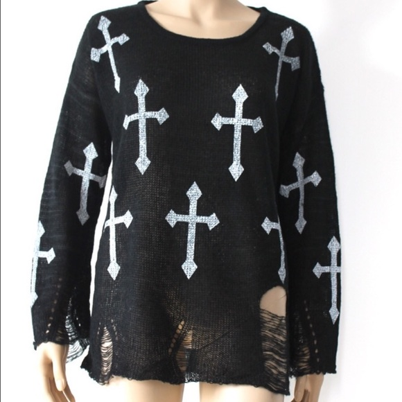 Black white cross Wildfox top sweater holy