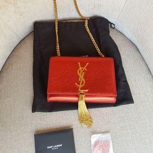 Saint Laurent Handbags - Saint Laurent Red Lustrous Leather Crossbody Bag