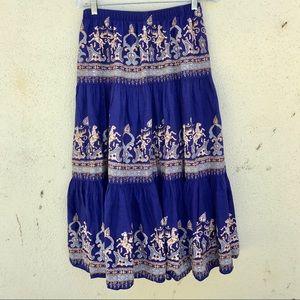 Passport Dresses & Skirts - BLUE BOHO TIERED MAXI skirt India print M COTTON