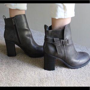 AX Paris Shoes - Dark grey zipper heeled booties w/ tie on outside