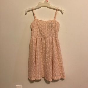 Wet Seal Dresses & Skirts - Lace Cream Crochet Fit and Flare Spaghetti Dress