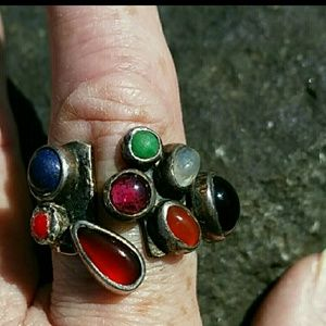 Vintage  Jewelry - Vintage Multi Stone Sterling Silver Ring  6.5 to 7