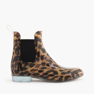 J. Crew Shoes - J Crew leopard animal print Chelsea rain boots