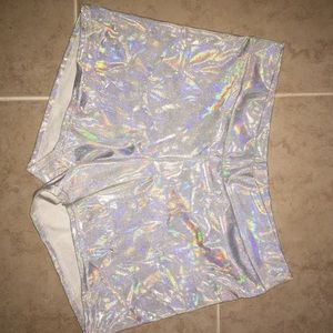 White silver holographic iridescent rave shorts