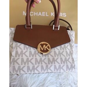 NEW Michael Kors Vanilla Large Hudson Satchel Bag