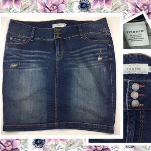 Torrid Dresses & Skirts - Torrid Blue Jean Distressed Skirt Plus Sz 18 NWOTs