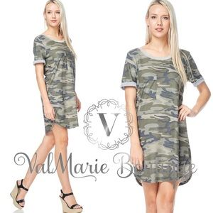 French Terry Camouflage Tshirt Dress