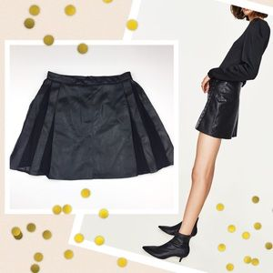 Zara Dresses & Skirts - Zara Basic Faux Leather Skirt Pleated Panel XS