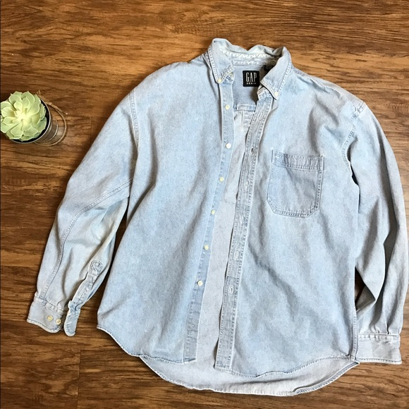 67 off gap other mens gap faded denim jean l button up for Jean button up shirt mens