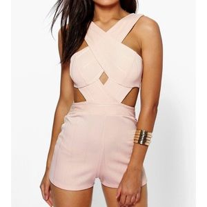 Boohoo Other - Jenny Cross Front Cut Out Side Bandage Playsuit
