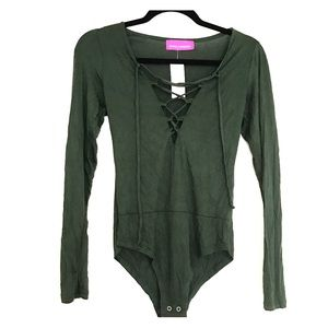 pookie & sebastian Other - NWT Emerald green Lace up bodysuit