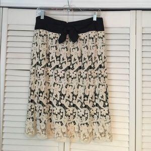 Anthropologie Cream Lace Skirt