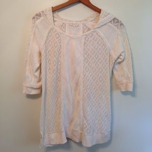 Anthropologie white cream Meadow Rue pull over